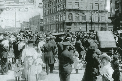 Fourth of July scene in 1909 at 6th and Oak Streets, Red Jacket, Michigan