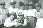 Finnish-American Historical Archives photo of young women in hats, Red Jacket, Michigan