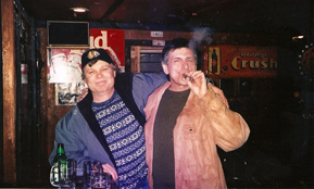 U.P. historian Gerry Mantel and bandmember Les Ross out on the town in Marquette, MI