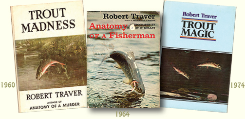Collage of well-worn fishing books by Robert Traver